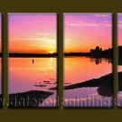 Modern Contemporary oil paintings on Canvas sunrise painting set10097