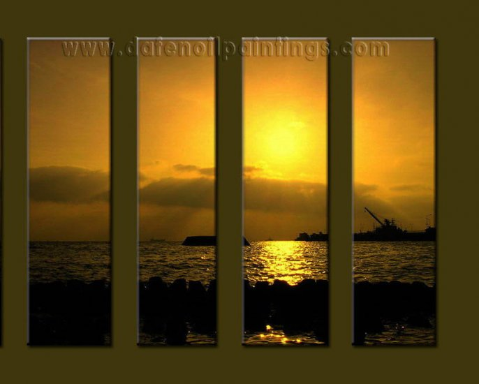 Modern Contemporary oil paintings on Canvas sunrise painting set10098