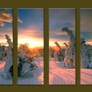 Modern Contemporary oil paintings on Canvas sunrise painting set10101