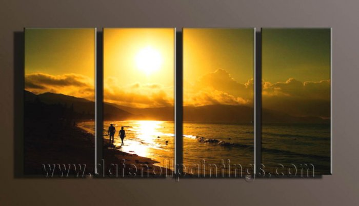 Modern Contemporary oil paintings on Canvas sunrise painting set10102
