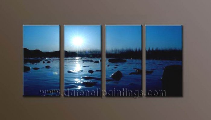 Modern Contemporary oil paintings on Canvas sunrise painting set10104