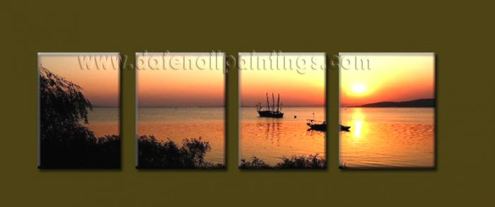 Modern Contemporary oil paintings on Canvas sunrise painting set10106