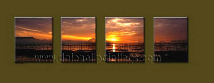 Modern Contemporary oil paintings on Canvas sunrise painting set10110