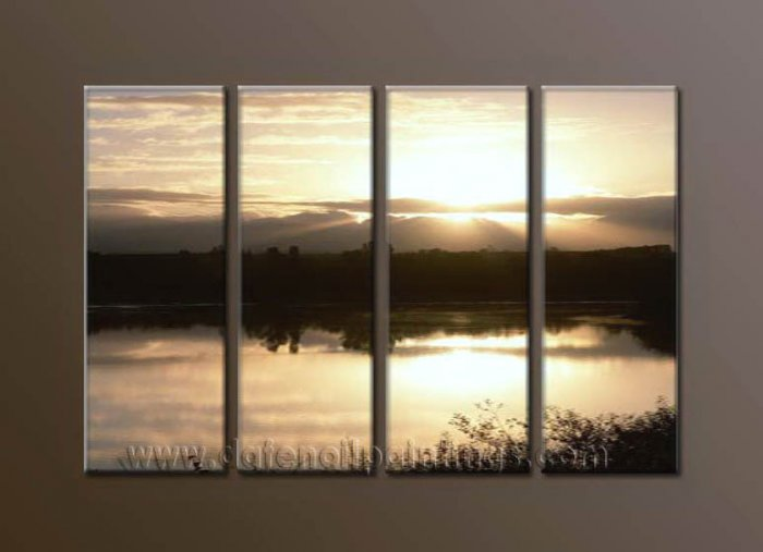 Modern Contemporary oil paintings on Canvas sunrise painting set10111