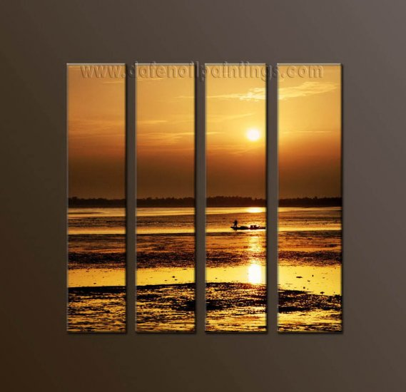 Modern Contemporary oil paintings on Canvas sunrise painting set10114