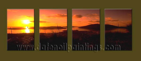Modern Contemporary oil paintings on Canvas sunrise painting set10116