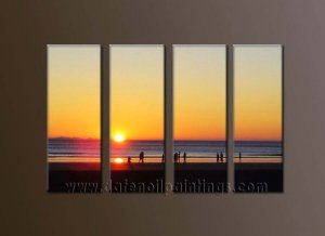 Modern Contemporary oil paintings on Canvas sunrise painting set10119