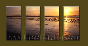 Modern Contemporary oil paintings on Canvas sunrise painting set10120