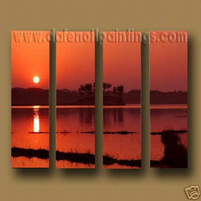 Modern Contemporary oil paintings on Canvas sunrise painting set10121