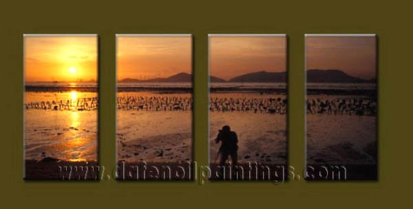 Modern Contemporary oil paintings on Canvas sunrise painting set10122
