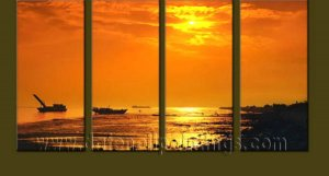 Modern Contemporary oil paintings on Canvas sunrise painting set10123