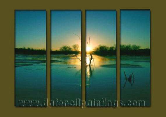 Modern Contemporary oil paintings on Canvas sunrise painting set10124