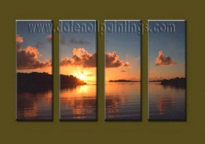 Modern Contemporary oil paintings on Canvas sunrise painting set10126
