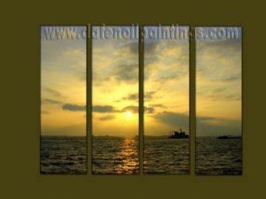 Modern Contemporary oil paintings on Canvas sunrise painting set10127