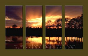 Modern Contemporary oil paintings on Canvas sunrise painting set10131