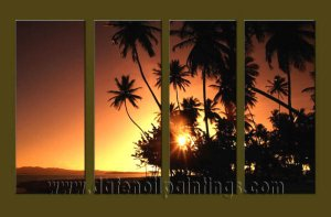 Modern Contemporary oil paintings on Canvas sunrise painting set10132