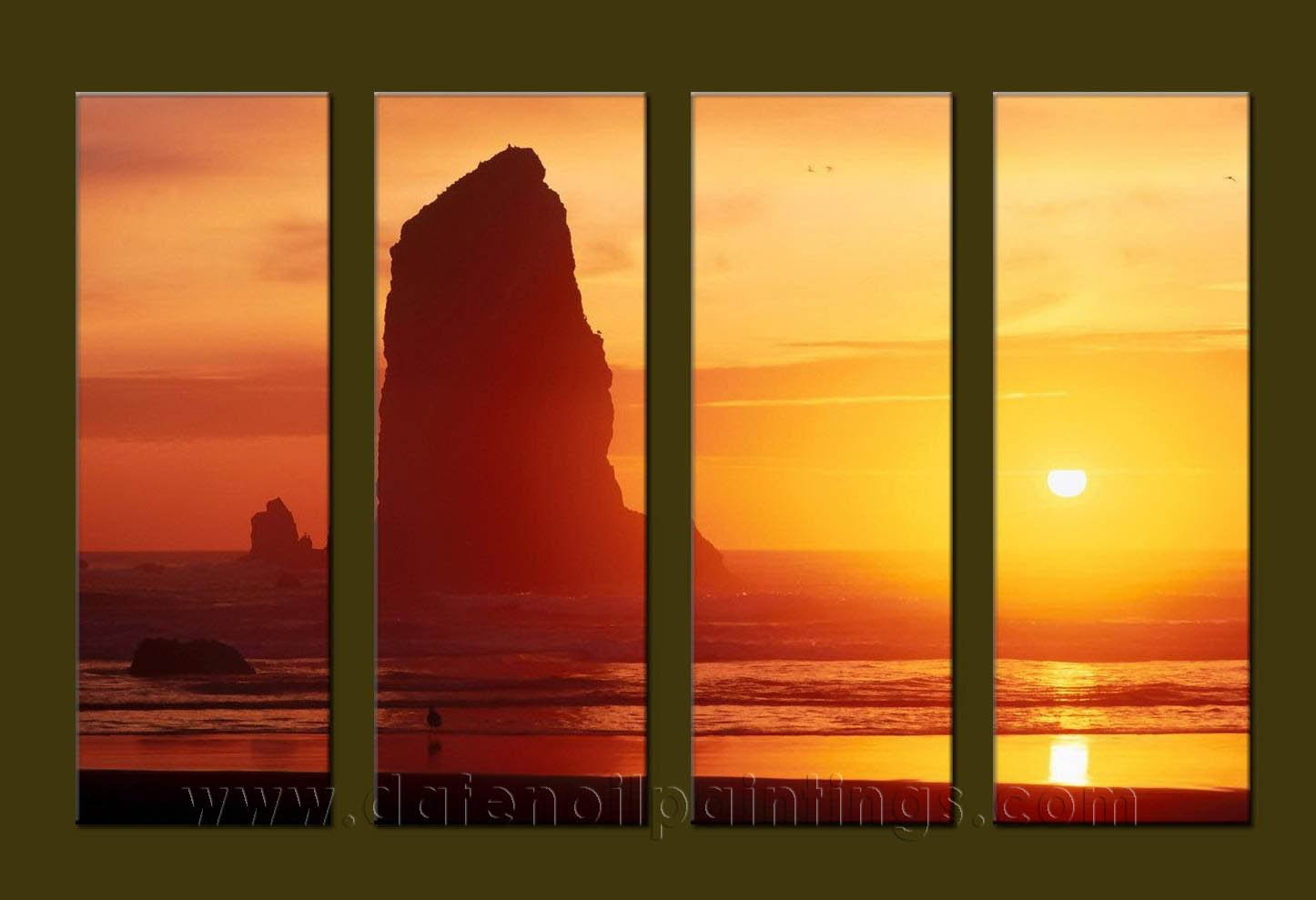 Modern Contemporary oil paintings on Canvas sunrise painting set10100