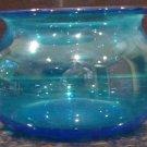 VINTAGE BLUE GLASS CREAMER AND OPEN SUGAR BOWL SET