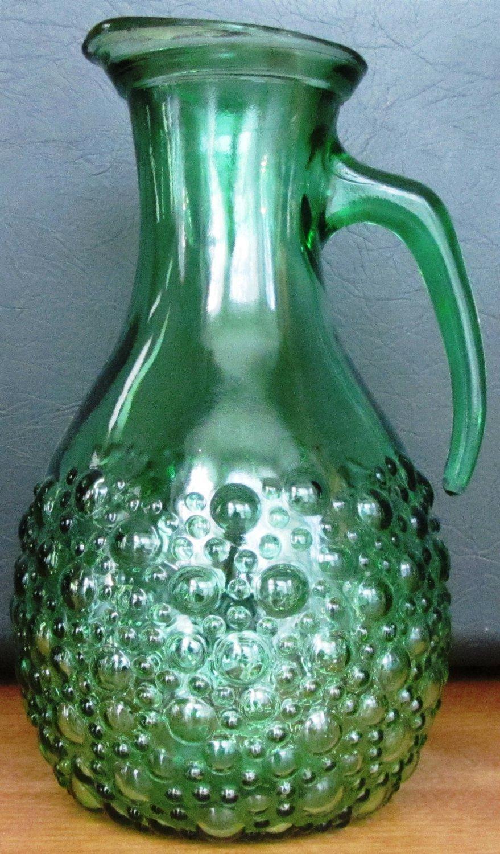 VINTAGE ANTIQUE GREEN DEPRESSION GLASS PITCHER BUBBLE DESIGN