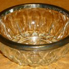VINTAGE GORGEOUS CRYSTAL CANDY NUT BOWL WITH SILVERPLATE TRIM EDGE ITALY
