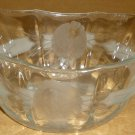 VINTAGE CRYSTAL ETCHED FLOWERS EMBOSSED CANDY NUT FRUIT BOAT BOWL BOHEMIAN