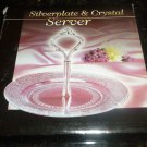 "GORGEOUS SILVERPLATE AND CRYSTAL SERVER CAKE CANDY 7"" NMB"