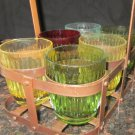 UNIQUE VINTAGE 60th MULTICOLORED GLASS TUMBLERS IN CADDY LEMONADE INDIA