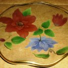 VINTAGE ELEGANT GLASS DISH HANDPAINTED FLOWERS ROUND SHAPED CHANCE GLASS ENGLAND