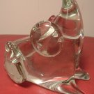CHARMING CLEAR GLASS HANDBLOWN MOUSE OR PIG PAPER WEIGHT