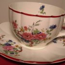 ANTIQUE PORCELAIN CUP/SAUCER W.S.GEOGGE EAST PALESTINE FLOWERS