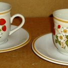 VINTAGE STONEWARE MADE IN JAPAN STRAWBERRIES & CREAM CUP & SAUCER SET OF 2