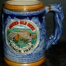 VINTAGE BLUE CERAMIC STEIN WRAP-AROUND IMAGE SCENES OF OPRY LAND USA MONKEY