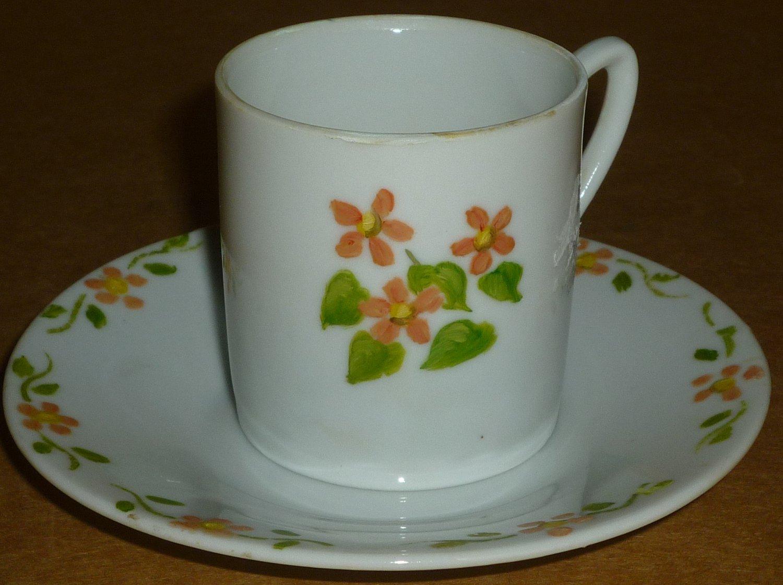 VINTAGE DEMITASSE BONE CHINA CUP AND SAUCER ORANGE GREEN FLOWERS