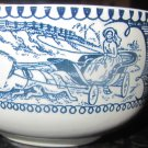 VINTAGE CURRIER & IVES 4 SMALL COFFEE TEA CUPS WHITE BLUE
