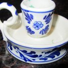 VINTAGE CHARMING OLD FASHIONED CANDLEHOLDER WITH HANDLE CROWN DELFT BLUE WHITE