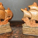 VINTAGE CAST IRON BRONZE BOOKENDS SET OF 2 SAILBOATS ON WAVES GALLIONS DOOR STOP