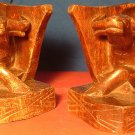 VINTAGE UNIQUE HANDCARVED WOODEN BOOK ENDS OX BUFFALO