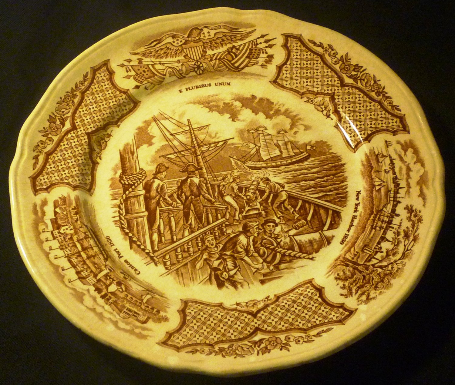 ALFRED MEAKIN STAFFORDSHIRE FAIR WINDS SALAD PLATES 2 BROWN