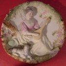 STUNNING VINTAGE ANTIQUE BISQUE PORCELAIN SCULPTURED PLATE W/LADY MANDOLIN PLAY