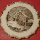 VINTAGE CURRIER & IVES THE OLD HOMESTEAD WINTER PLATE GOLD SPIKED TRIM