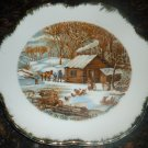VINTAGE CURRIERS  & IVES 'HOME IN A WILDERNES' PORCELAIN PLATE GOLD CONVOLUTED