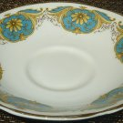 VINTAGE FINE BONE PORCELAIN ROYAL TARA IRISH REPUBLIC SAUCER BLUE GOLD