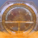 VINTAGE ANCHOR HOCKING TOPAZ YELLOW DEPRESSION GLASS GRILL PLATE PRINCESS PATTER