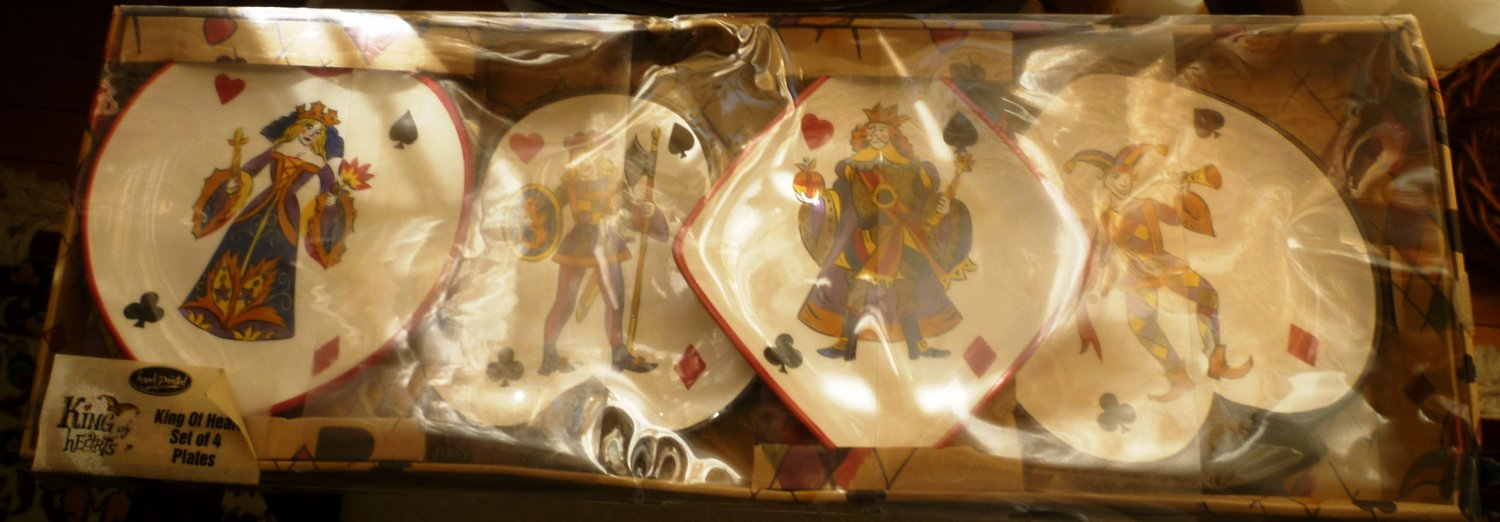 CHARMING TABLETOP GALLERY KING OF HEARTS SET OF 4 HANDPAINTED PLATES