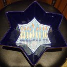 HANDPAINTED CERAMIC BOWL STAR OF DAVID MENORAH CHANUKKAH JUDAICA BY PALM, INC.