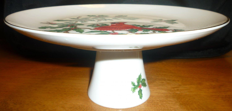 LEFTON CHINA CHRISTMAS CARDINAL PEDESTAL PORCELAIN CAKE STAND #1252