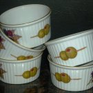 ROYAL WORCESTER PORCELAIN EVERSHAM RAMEKIN ENGLAND GOLD RIM SET OF 5