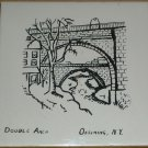 VINTAGE CERAMIC TILE TRIVET WALL HANGING HISTORIC PLACES DOUBLE ARCH OSSINING NY