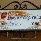 VINTAGE CERAMIC WROUGH IRON FRAMED TILE TRIVET WALL HANGING MADE IN SPAIN CASA