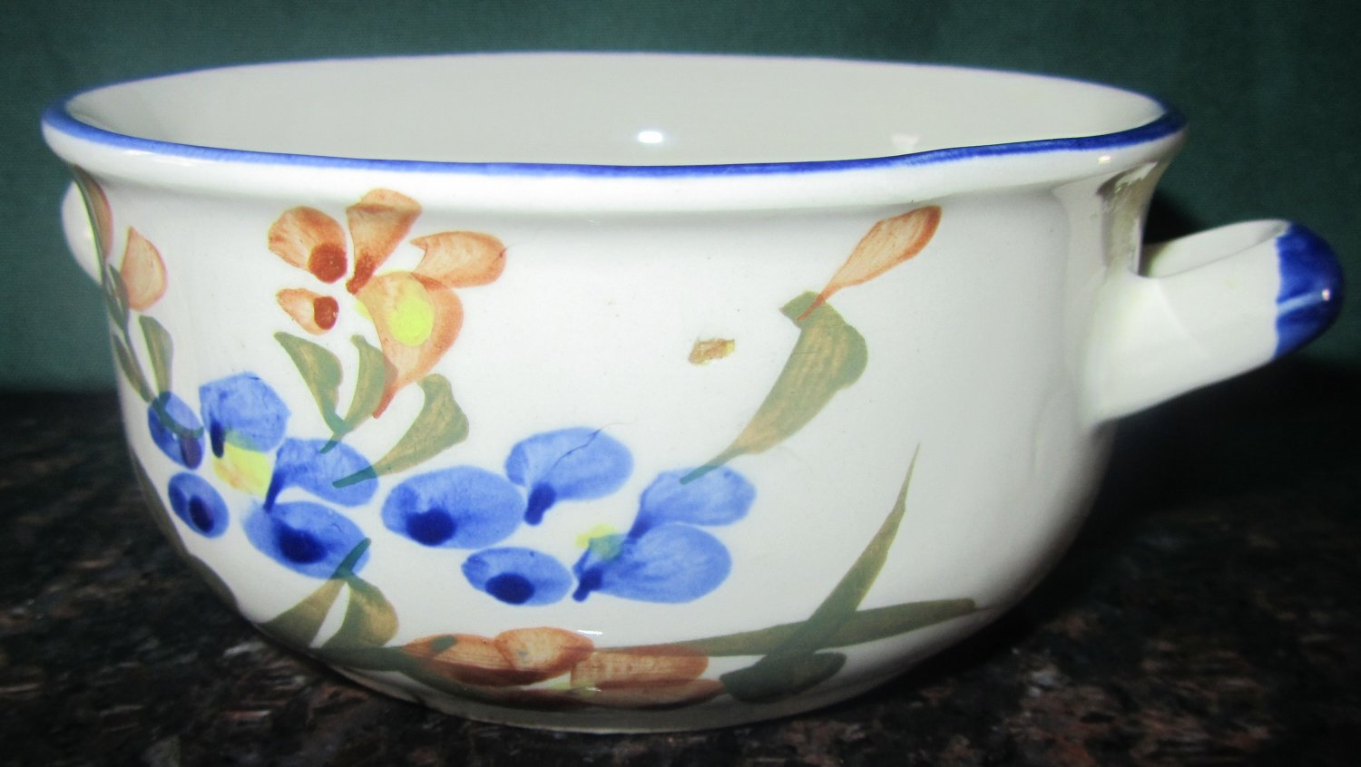 VINTAGE CHI JIANG CHINA - PORCELAIN CERAMIC WHITE BLUE SOUP/CEREAL BOWL